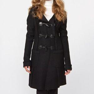Le Chateau S M Black Boiled Wool Duffle Coat Hood